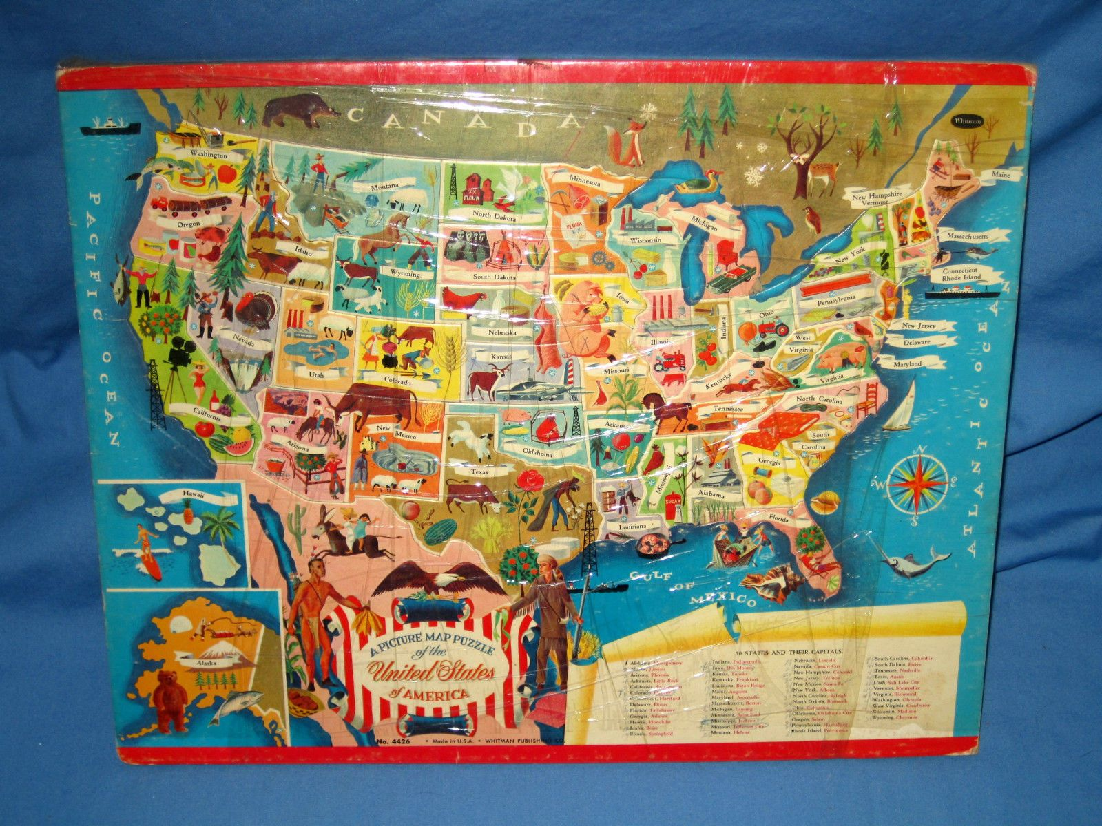 Antique/VTG Picture Map Puzzle United States of America ...