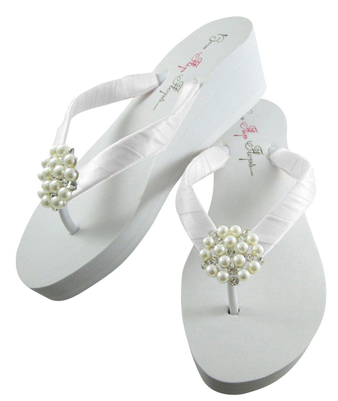 Ivory Or White Wedge Flip Flops Pearl Rhinestone Platform Heel Sandals Bridal Wedding