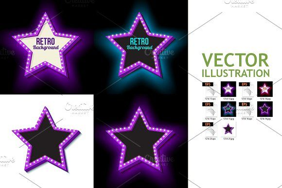 Vintage Retro Star With Lights Graphics Retro Neon Star With Lights