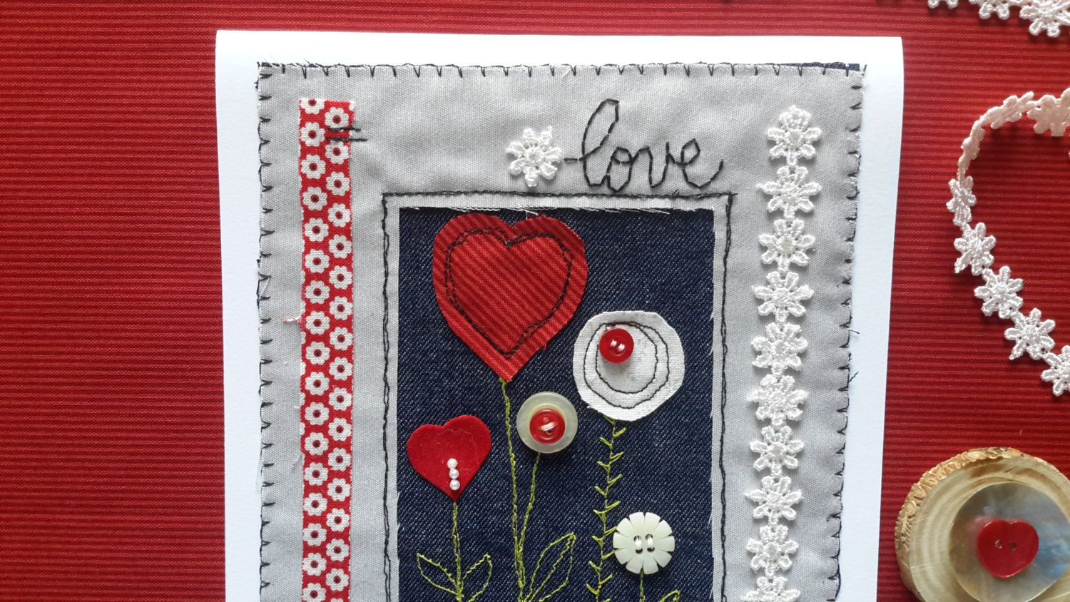 Greeting card machine embroidered fabric applique birthday love items similar to greeting card machine embroidered fabric applique handmade fabric greetings cards on etsy m4hsunfo