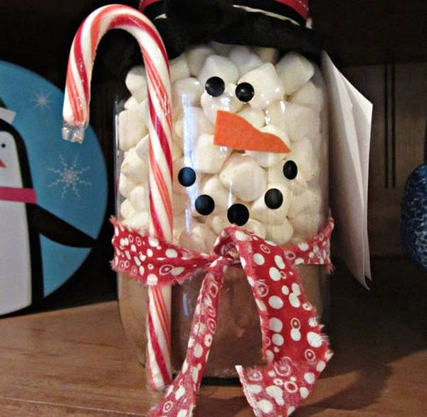 Brilliant snowman mason jar idea white marshmallows filled for What to fill mason jars with for christmas
