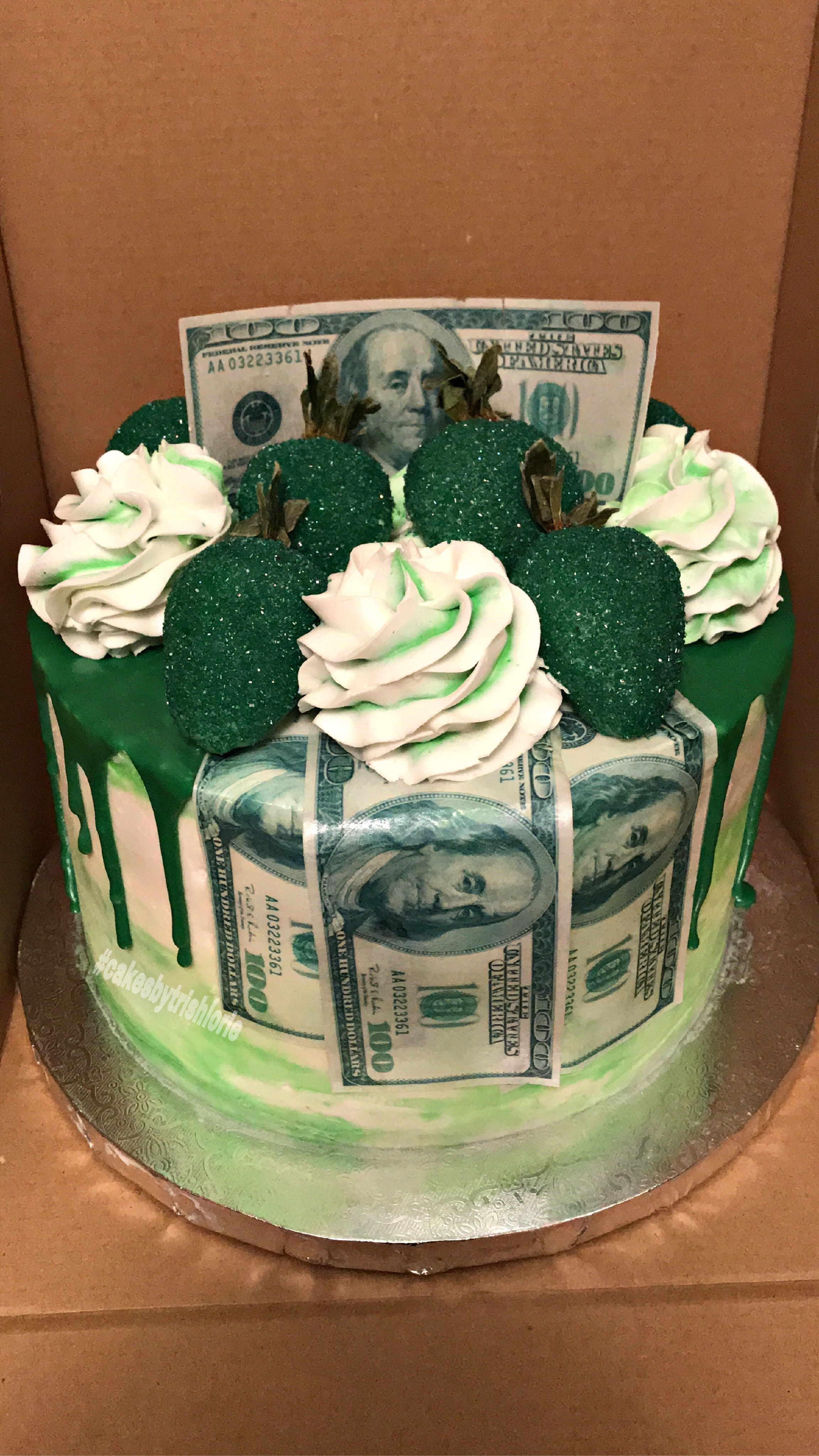 Incredible Money Cake With Sparkling Green Strawberries Edible Money Funny Birthday Cards Online Alyptdamsfinfo