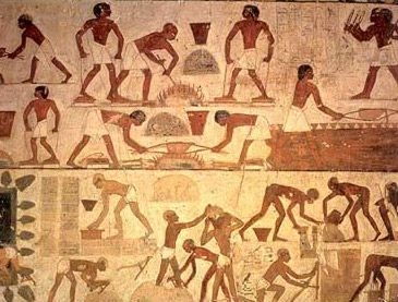 Egyptian workers making bricks much like described in the Bible