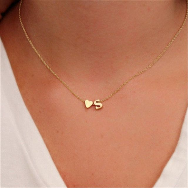 Dainty initial and tiny heart charm necklace - gold or silver tone... jewelry, unique, birthday gift, graduation gift, baptism gift,