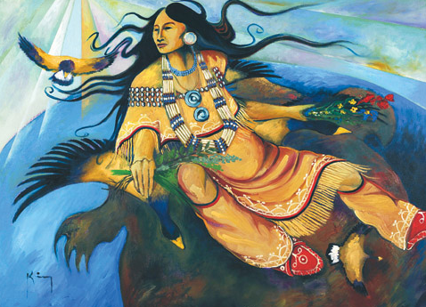 Sky Woman By Bruce King Oneida Png Native American Folklore Indigenous Art Native American Art