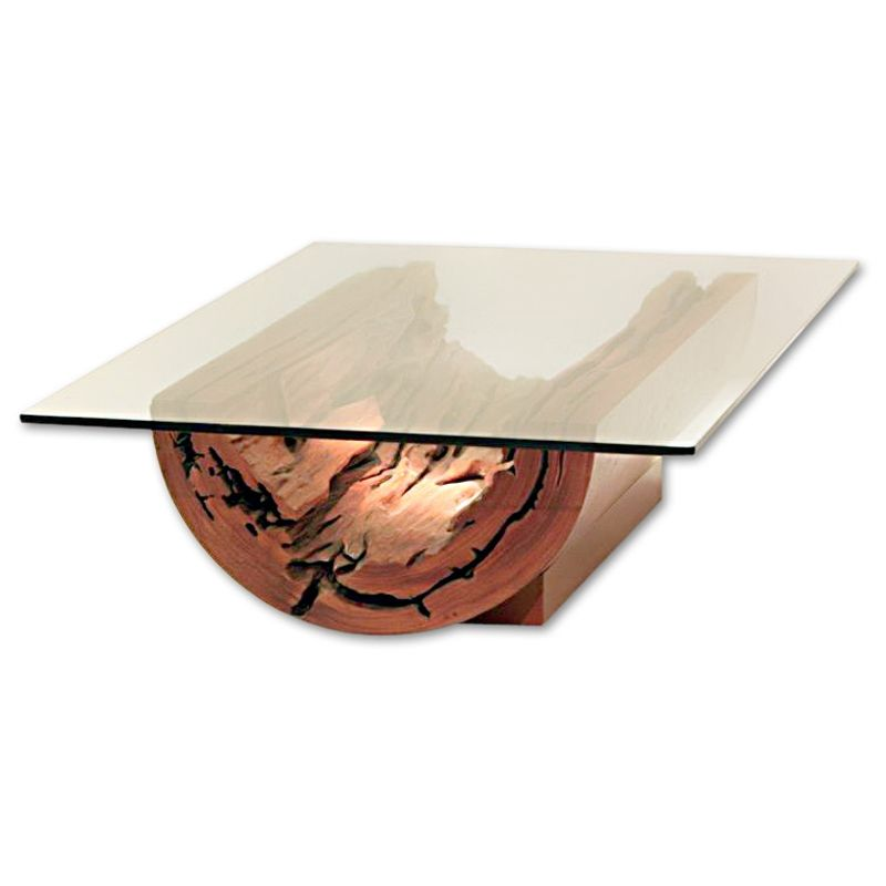Rotsen Furniture Canoa Salvaged Tree Trunk Coffee Table - Tree trunk coffee table with glass top