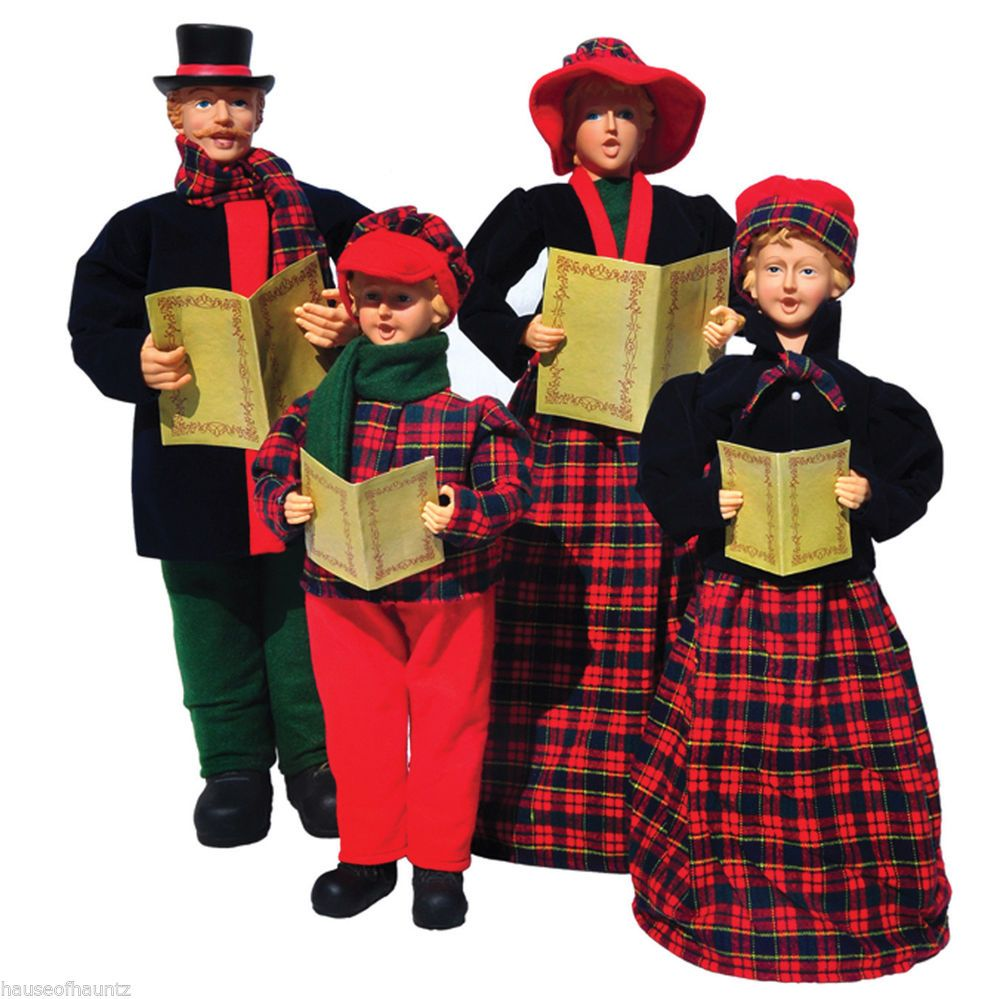 Christmas Carolers Singers Vintage Decorations By: Christmas Carolers Singers Set 4 Decor Prop Figurines