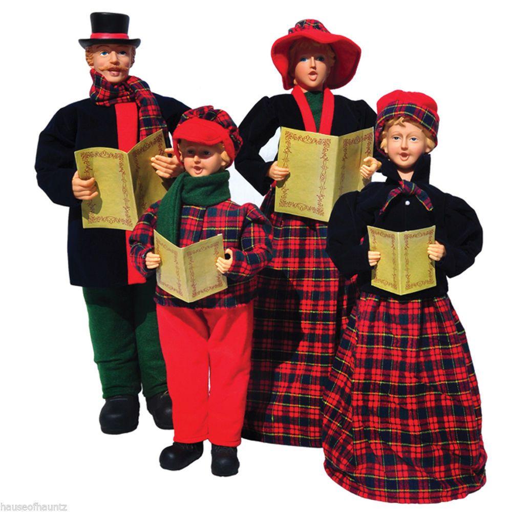 Christmas Carol Singers Figurines.Christmas Carolers Singers Set 4 Decor Prop Figurines