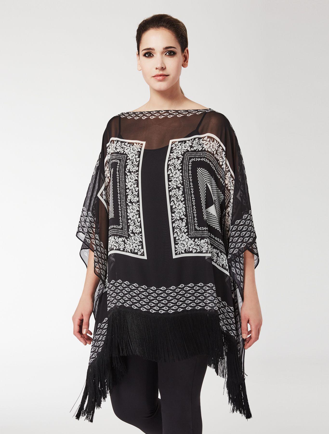 b1ff1394d28 Marina Rinaldi FATIDICO black: Silk georgette shirt tunic. | Kurtis ...