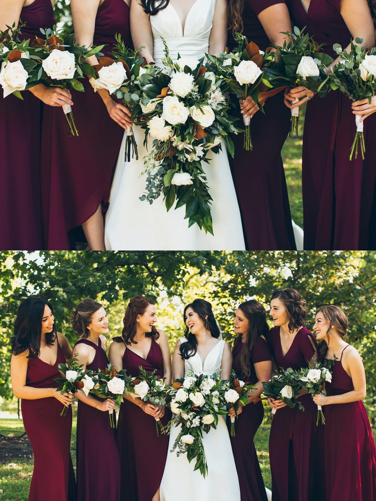 Tyler Lauren Burgandy Wedding Bridesmaid Bouquet White