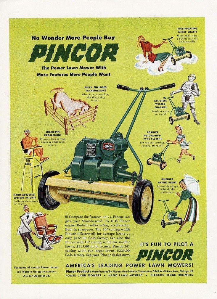 Pincor Power Lawn Mower 1949 Lawn Mower Push Lawn Mower Mower