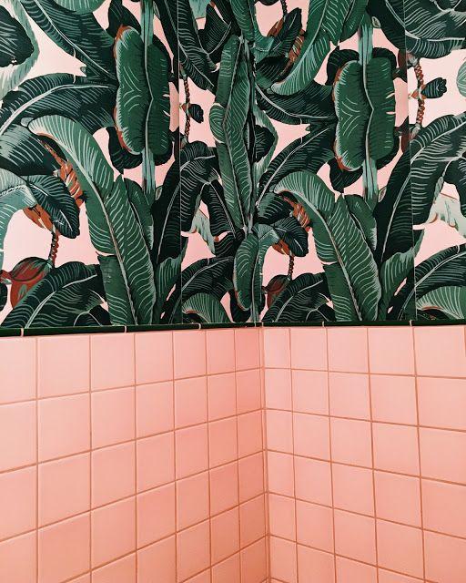 Bydanielle Palm Vaults Pink Bathroom Tiles Tropical Bathroom Palm Springs Decor