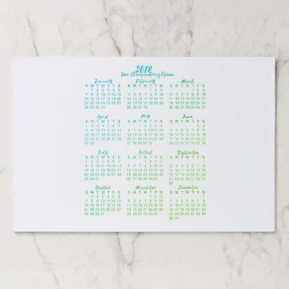 Green 2018 Calendar Year at a Glance Calligraphy Paper Pad - how to create your own calendar