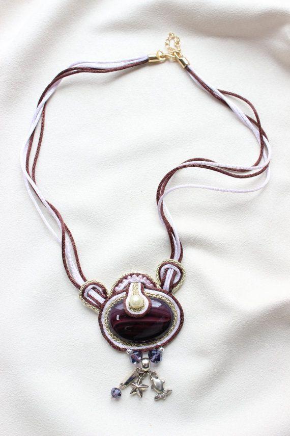 Handmade Soutache NecklaceWith Agate look by AngelaAndTedDesigns