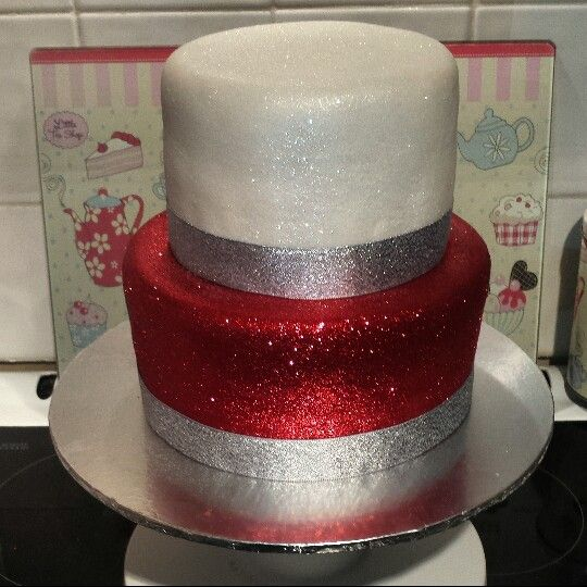Red White Silver Sparkly Glitter 21st Birthday Cake parties