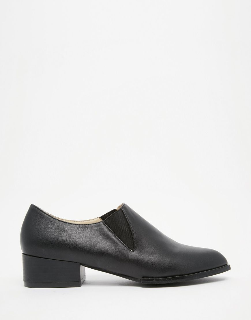 Image 2 of Daisy Street Black Loafer Mid Heel Chelsea Shoes