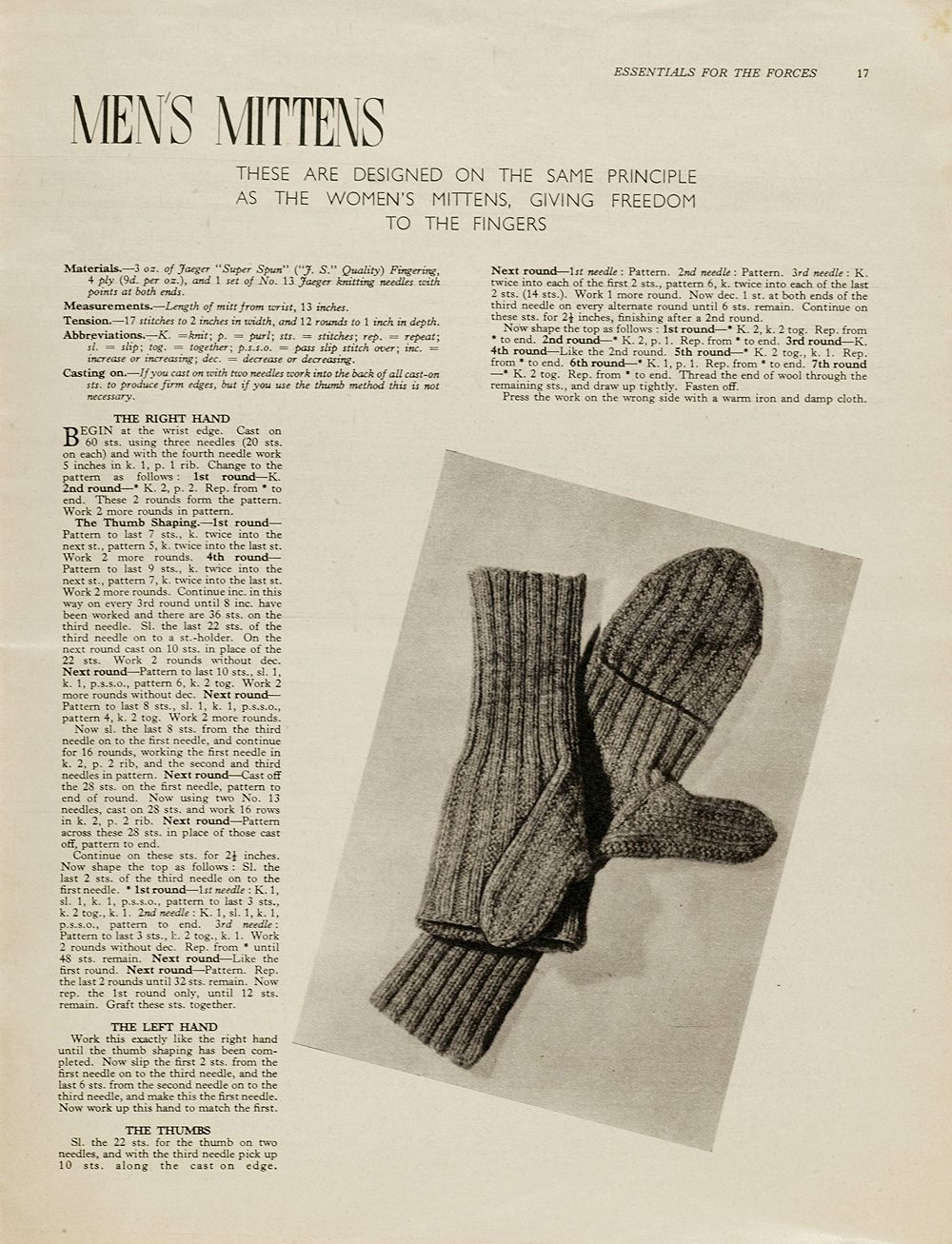 Men\'s mittens from Essentials for the Forces 1940\'s knitting pattern ...