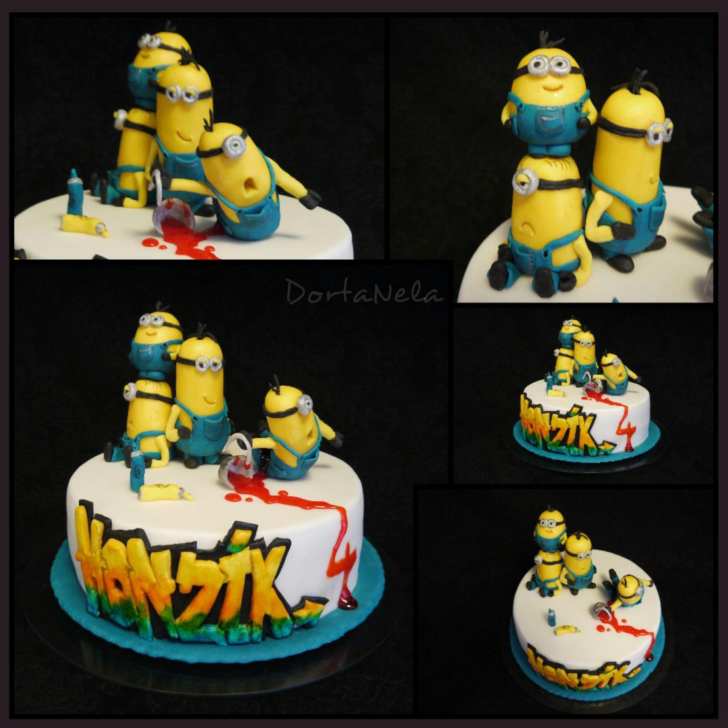 CAKE WITH MINIONS AND GRAFFITI (Sprejující mimoni)