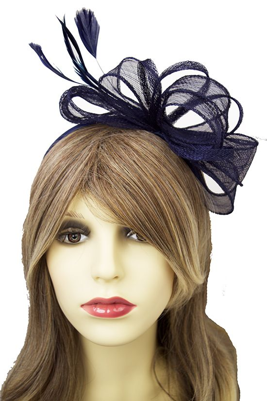 Navy Blue Looped Bow   Feather Hairband fascinator  b8afe922c50