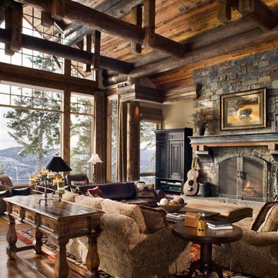 40 Awesome Rustic Living Room Decorating Ideas Cabin, Logs and House