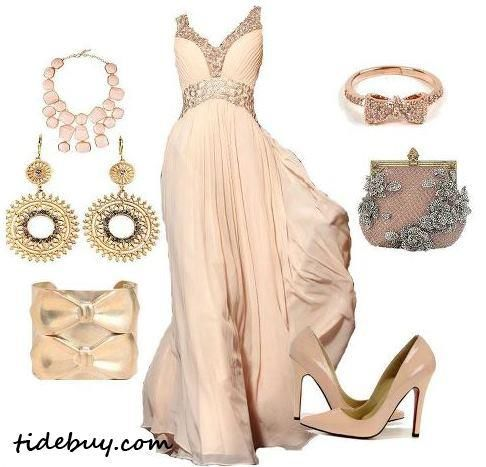 Wedding gown, ear rings, bracelet, hand bag and high heel sandals for ladies