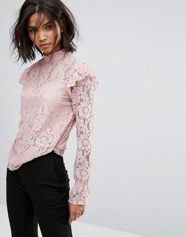 06f317f7254b6 Vila High Neck All Over Long Sleeve Lace Shell Top