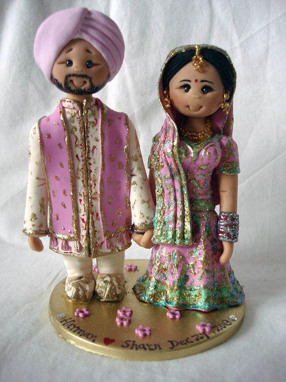 Personalised Asian Indian Sikh Hindu Pakistani Muslim Bride Groom Ethnic Wedding Cake Topper