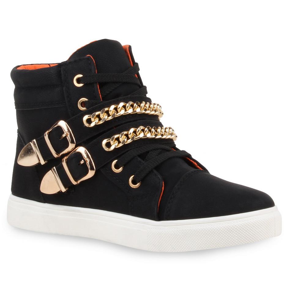 High Sneakers mit goldenen Schnallen und Ketten von stiefelparadies.de