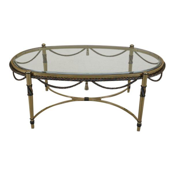 Neoclassical Oval Brass Coffee Cocktail Table W Beveled Glass Top