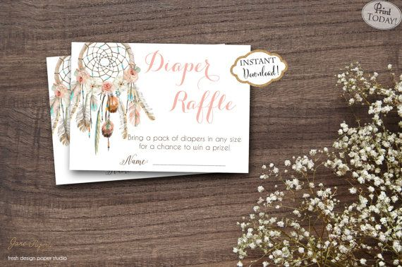 "Throw a ""Diaper Raffle"" at the baby shower you are hosting. It is a great way to help the new mom get lots of diapers. You can mail these diaper raffle tickets with your baby shower invitations to let the guests know that if they bring a pack of diapers they can be entered to win a prize. INSTANT DOWNLOAD  Boho Dream Catcher Diaper Raffle Ticket Game Card. Find more coordinating printables at JanePaperie: https://www.etsy.com/shop/JanePaperie"