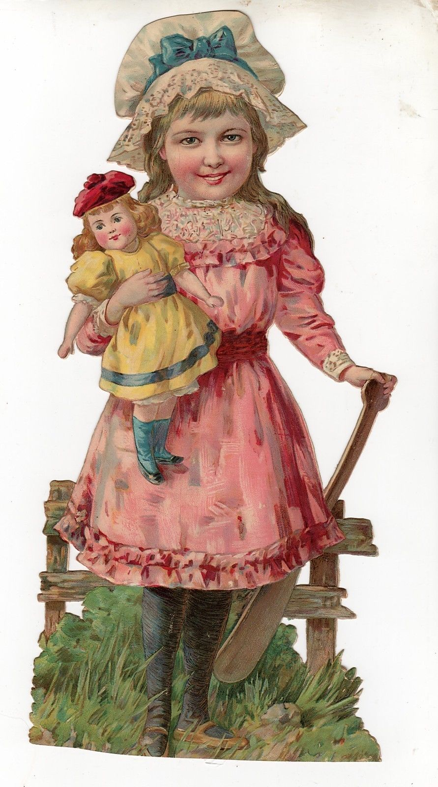 X1198 Large Die Cut Scrap of Child and Doll App 5 by 10 5 Inches | eBay