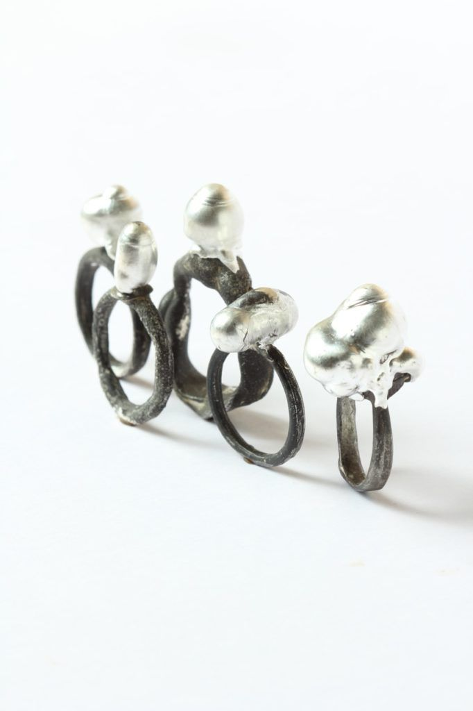 Karl Fritsch (Germany/New Zealand), 2016, 'Luster' (rings), fine silver, sterling silver.