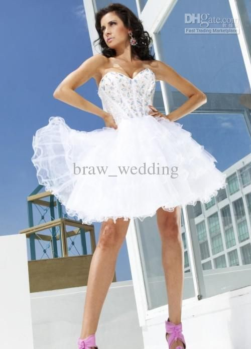 New Arrival 2013 Short Sweetheart Crystals Organza Ball Gown Party ...