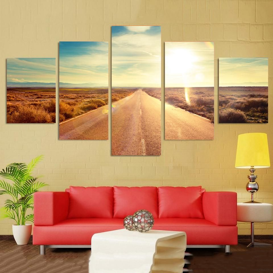 Wall Art Decor Modern Living Room 5 Pieces Highway Sunshine Scenery ...
