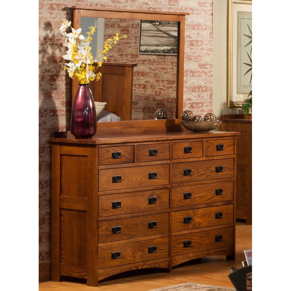 Mission Wood Twelve Drawer Dresser With Optional Mirror In Oak By