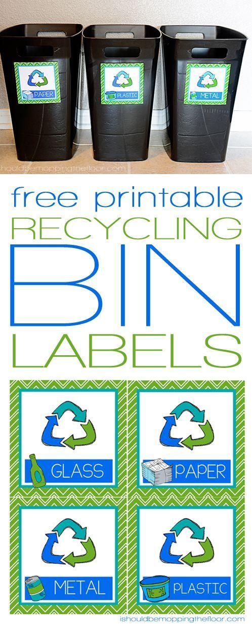 Free Printable Recycling Bin Labels Bin labels