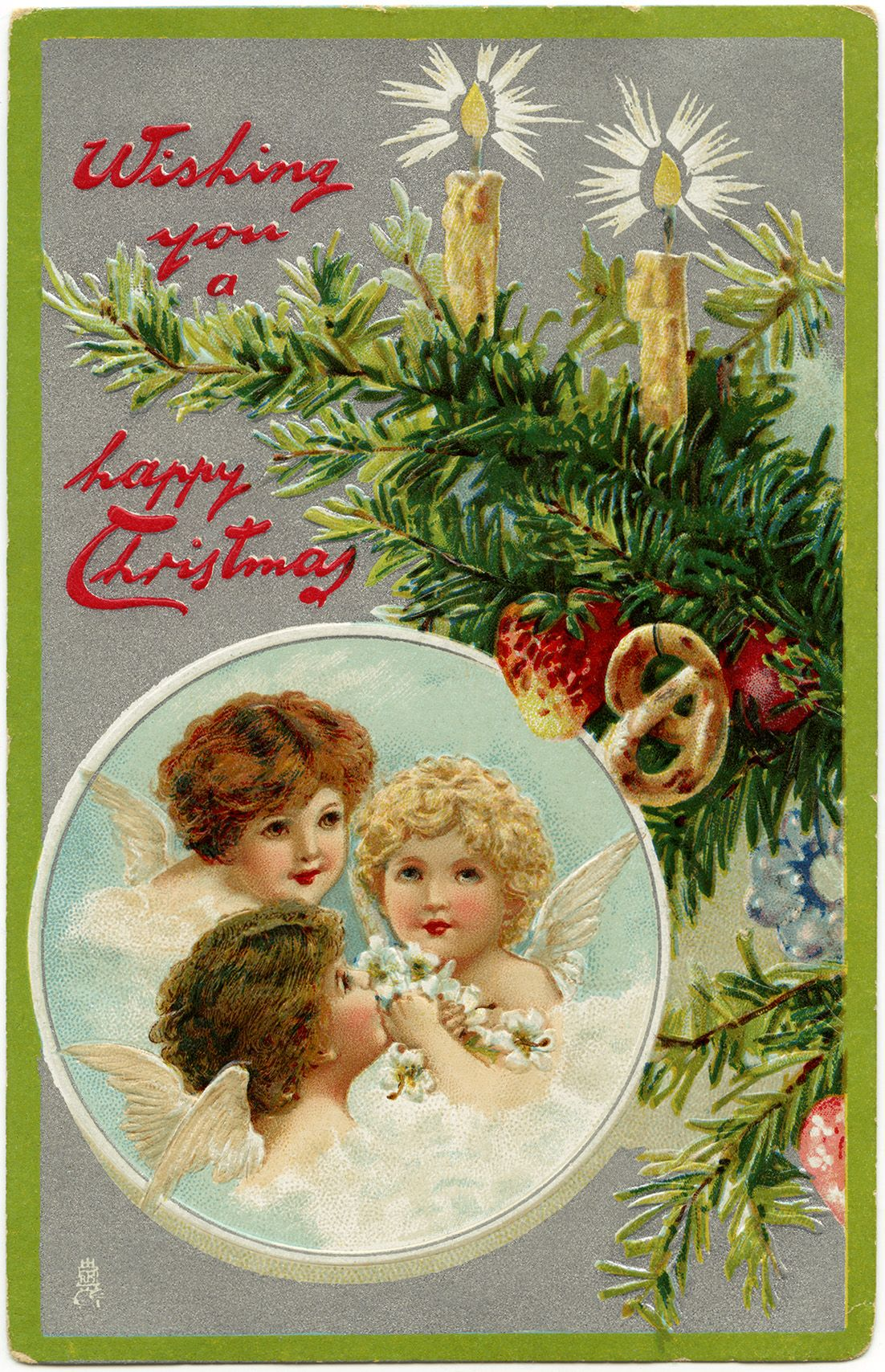 vintage Christmas postcard, angels clip art, decorated tree branch ...