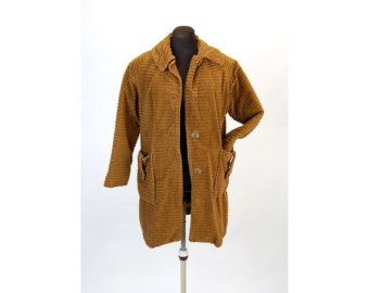Vintage corduroy coat, 1960s corduroy car coat, boho coat, brown ...