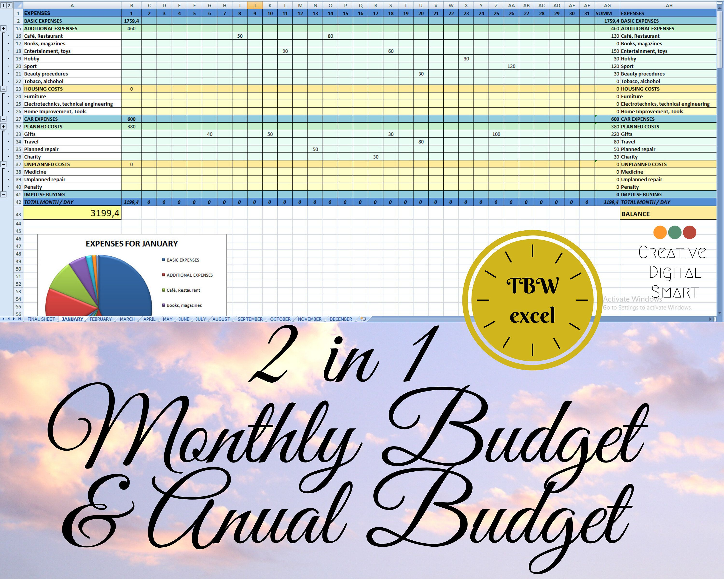 Pin On Monthly And Anual Budgets Excel Planners