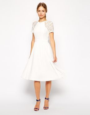 Asos Midi Skater With Lace Sleeves Fashion And Shoes