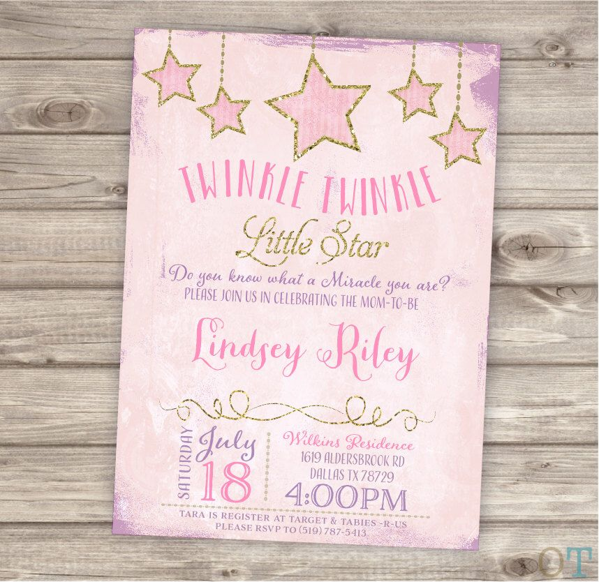 Twinkle twinkle little star baby shower invitations shabby chic pink printable twinkle twinkle little star baby shower invitations shabby chic pink and purple gold glitter theme altavistaventures Gallery