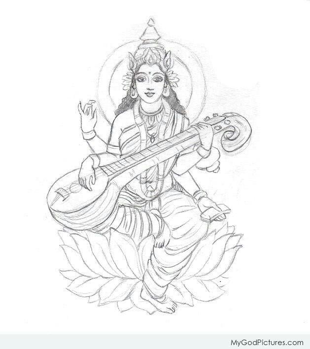Drawing Of Goddess Lakshmi