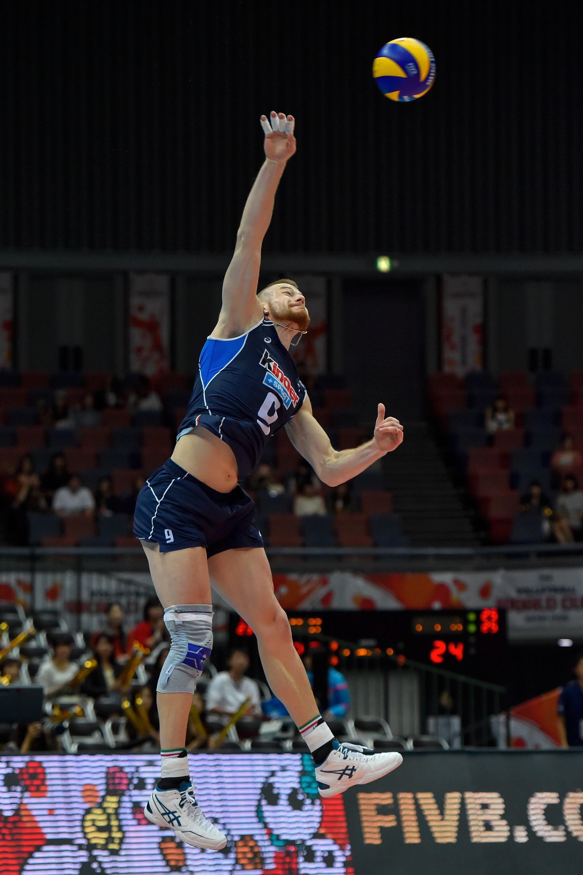 Ivan Zaytsev Serves The Ball Against Tunisia Volleyball Volley Basketball Court