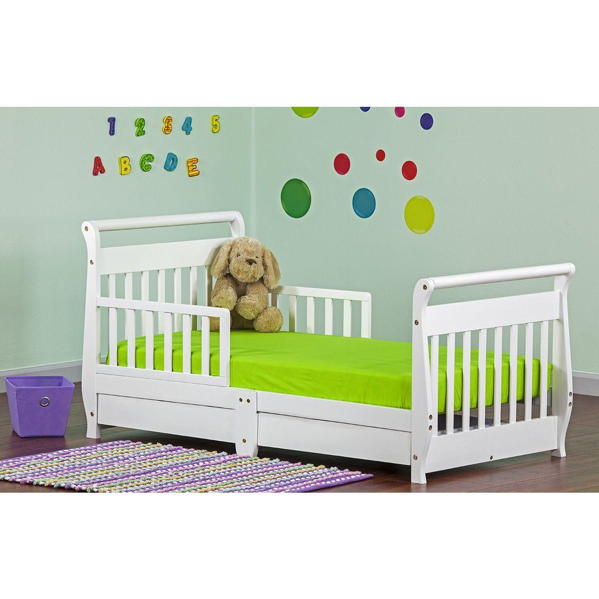 Dream On Me Sleigh Toddler Bed W Storage Drawer White