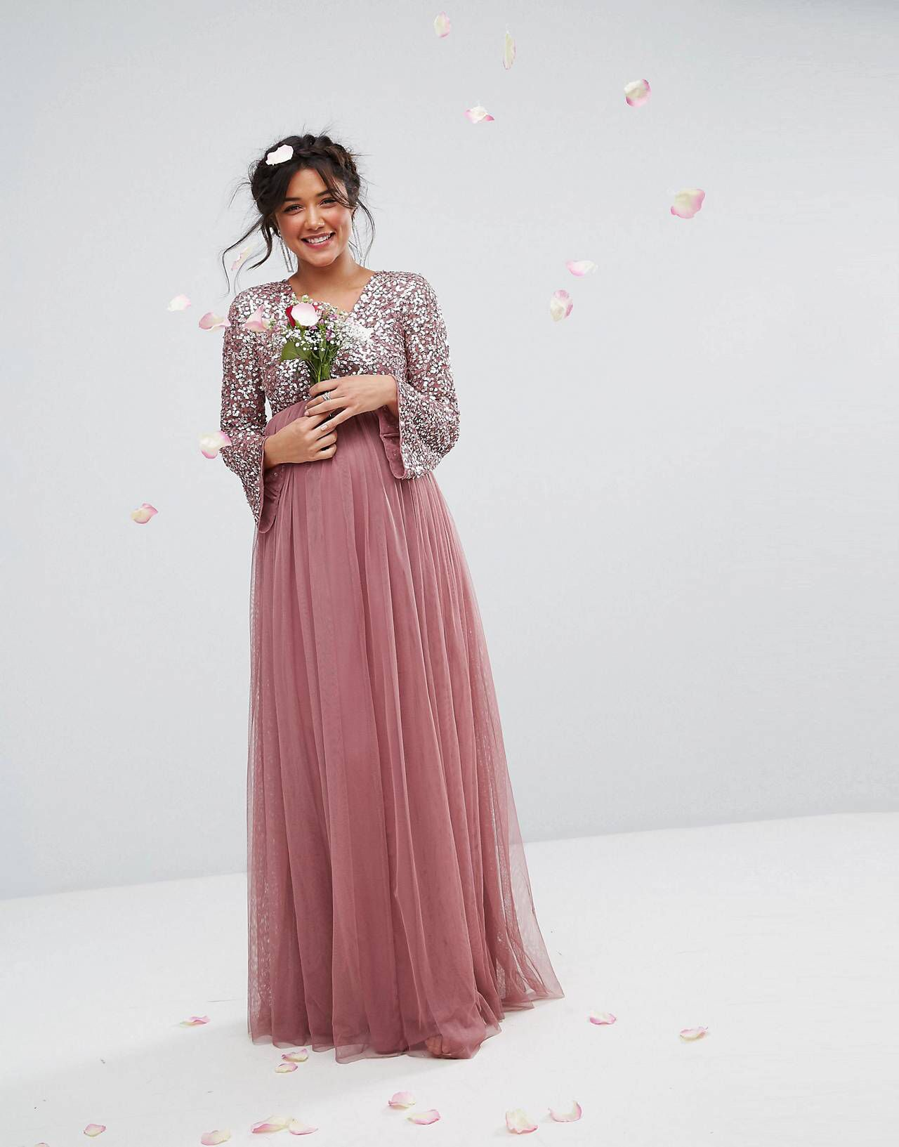 15484368f03 Shop Maya Maternity Long Sleeve V Neck Maxi Dress With Tonal Delicate  Sequins at ASOS. LOVE this from ASOS!