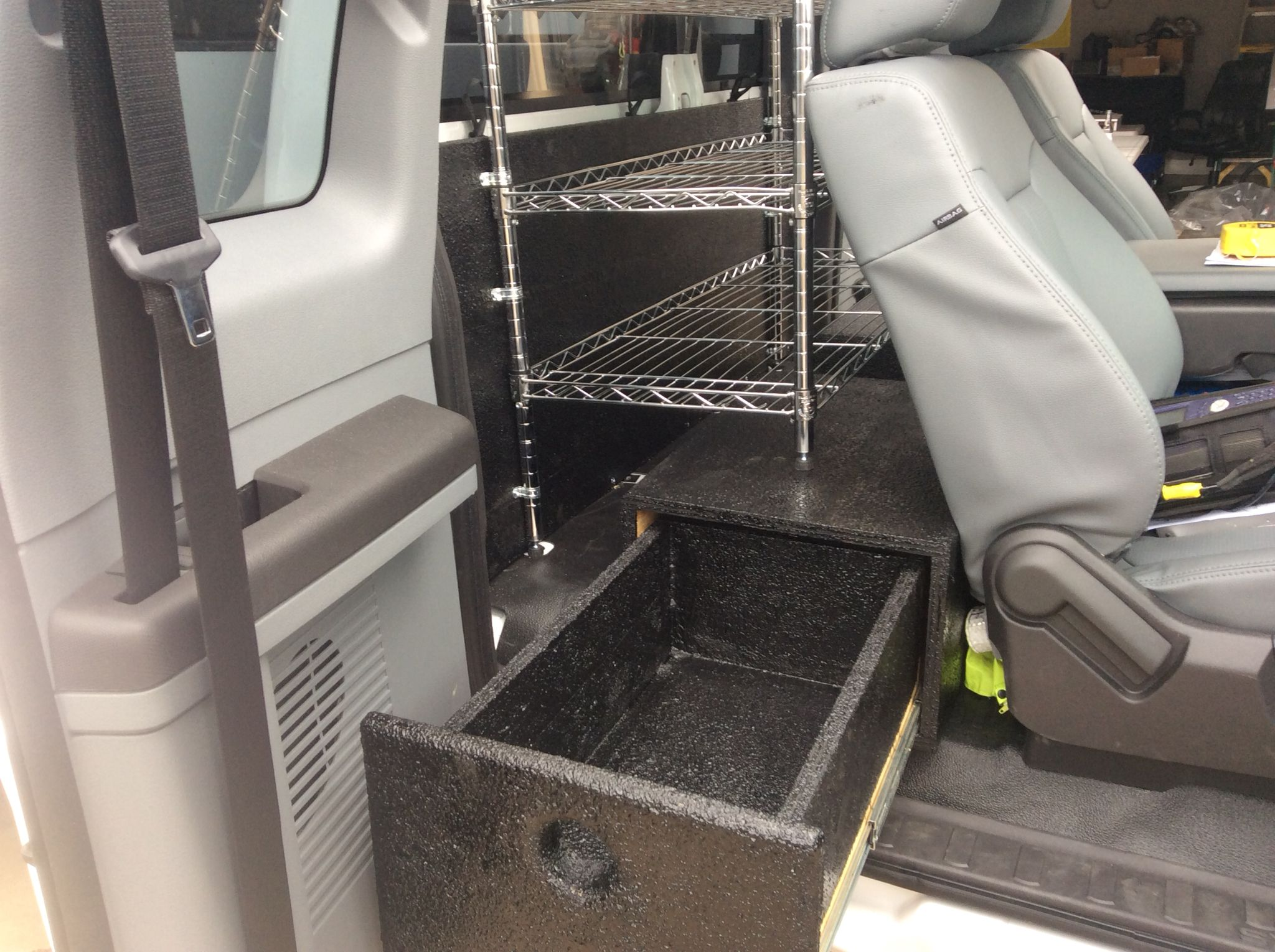 Custom storage solution for Extended Cab Ford F250 Work