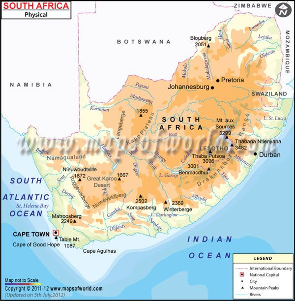 Physical Map of South Africa | Kids Assignments | South africa