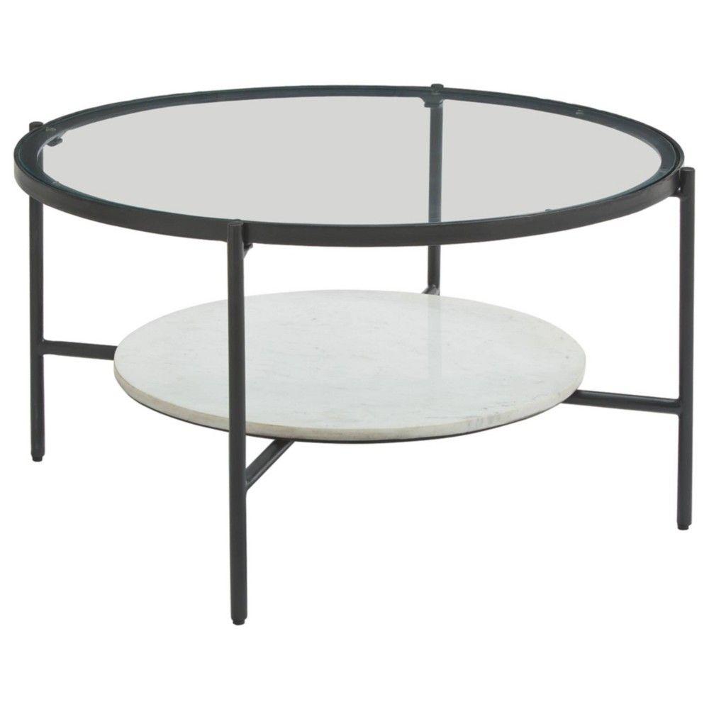 Zalany Coffee Table Black White Signature Design By Ashley In 2021 Coffee Table White Round Coffee Table Round Coffee Table [ 1000 x 1000 Pixel ]