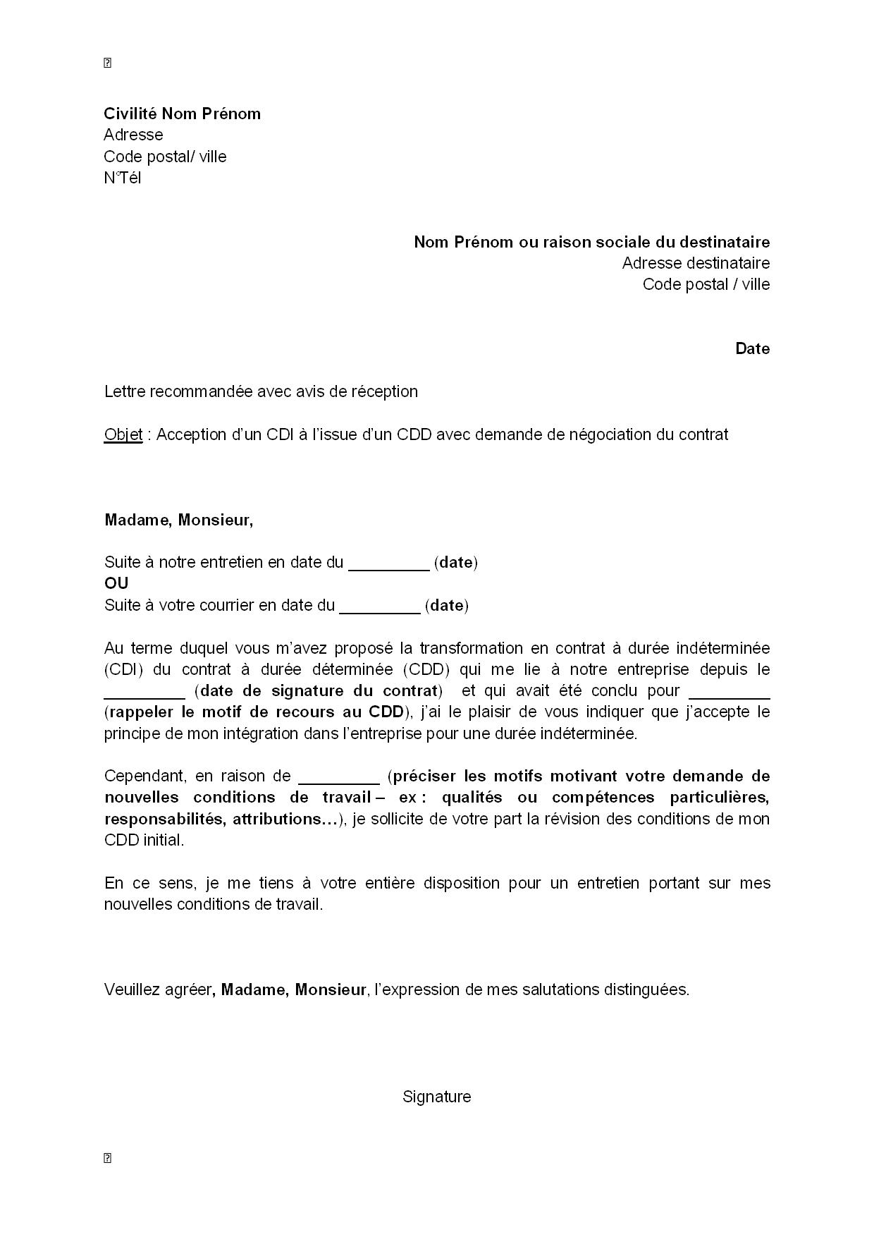 Exemple Gratuit De Lettre Acceptation Un Cdi A Issue Un Cdd Avec Demande Negociation Contrat Lettre A Exemple De Lettre Modeles De Lettres