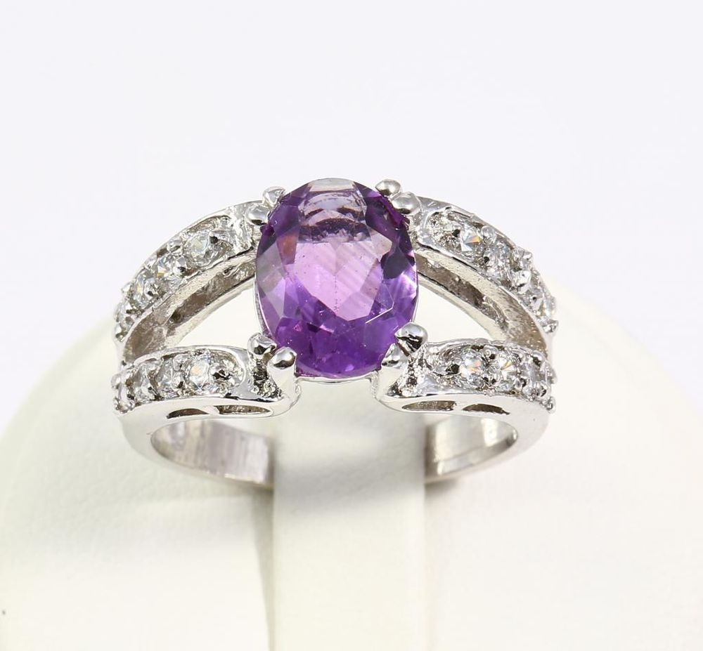 vintage Fine Purple Amethyst Gemstones 925 Sterling Silver Ring Size 7 Free Ship #Handmade #Ring